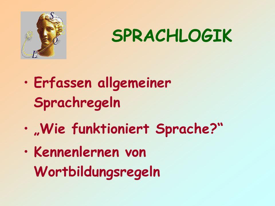 SPRACHLOGIK Erfassen allgemeiner Sprachregeln Wie funktioniert Sprache.