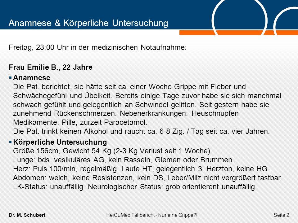 Dr. M. SchubertHeiCuMed Fallbericht - Nur eine Grippe?!Seite 2 Anamnese & Körperliche Untersuchung Freitag, 23:00 Uhr in der medizinischen Notaufnahme
