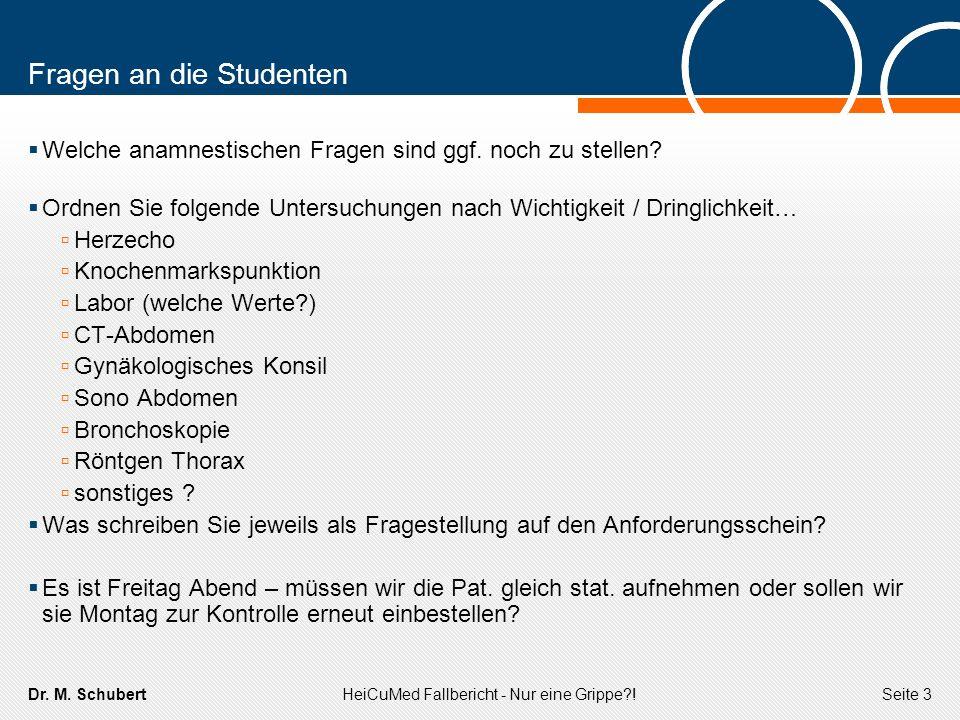 Dr. M. SchubertHeiCuMed Fallbericht - Nur eine Grippe?!Seite 3 Fragen an die Studenten Welche anamnestischen Fragen sind ggf. noch zu stellen? Ordnen