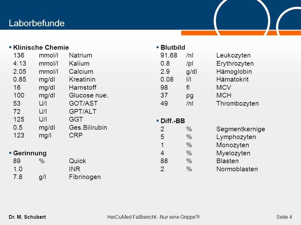 Dr. M. SchubertHeiCuMed Fallbericht - Nur eine Grippe?!Seite 4 Laborbefunde Klinische Chemie 136mmol/lNatrium 4.13mmol/lKalium 2.05mmol/lCalcium 0.85m