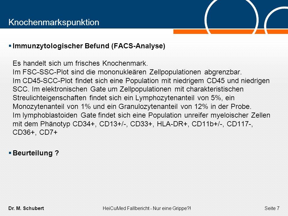 Dr. M. SchubertHeiCuMed Fallbericht - Nur eine Grippe?!Seite 7 Knochenmarkspunktion Immunzytologischer Befund (FACS-Analyse) Es handelt sich um frisch