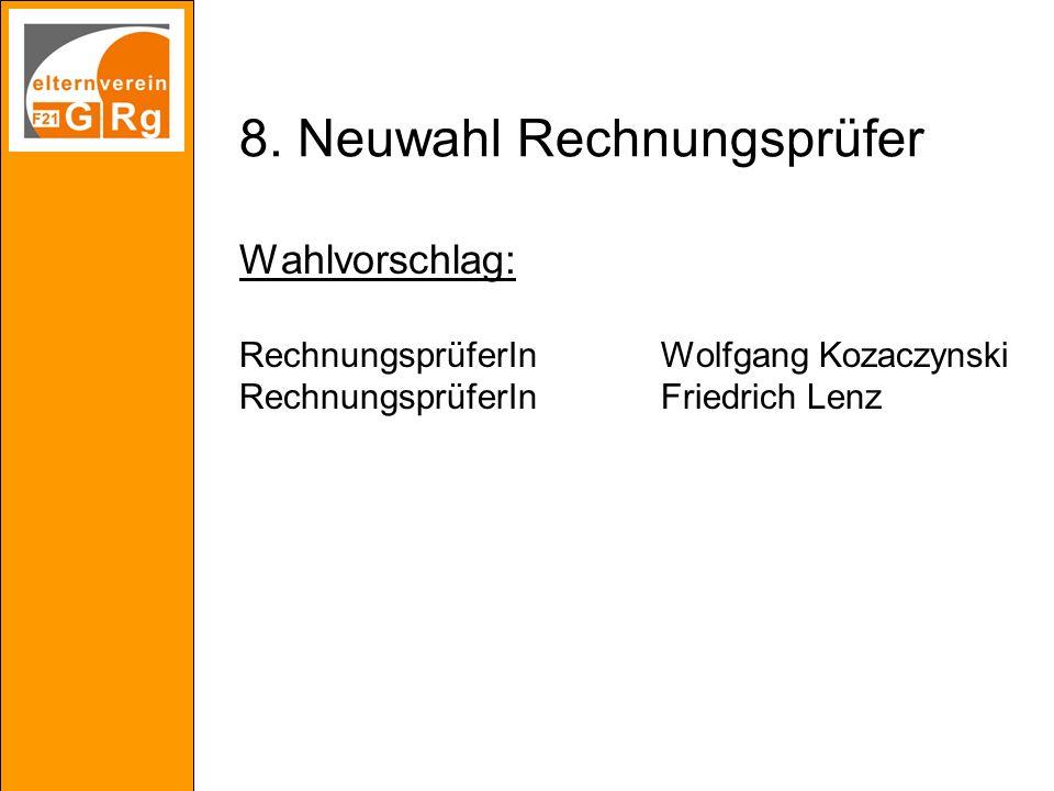 8. Neuwahl Rechnungsprüfer Wahlvorschlag: RechnungsprüferInWolfgang Kozaczynski RechnungsprüferInFriedrich Lenz