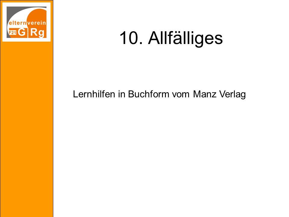 10. Allfälliges Lernhilfen in Buchform vom Manz Verlag