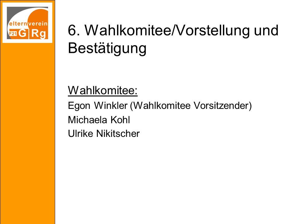 6. Wahlkomitee/Vorstellung und Bestätigung Wahlkomitee: Egon Winkler (Wahlkomitee Vorsitzender) Michaela Kohl Ulrike Nikitscher