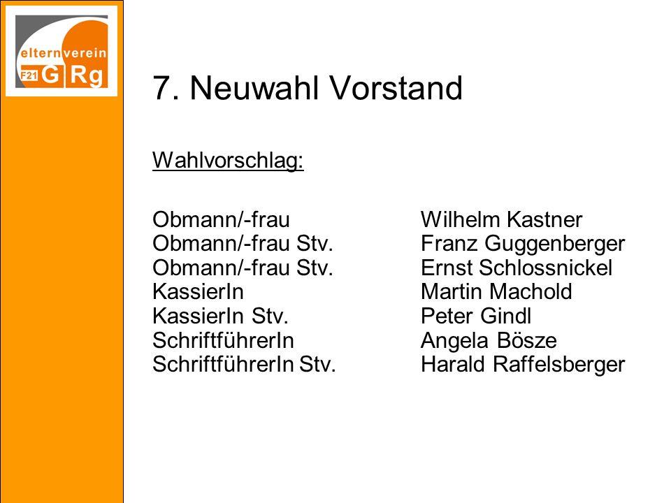 7. Neuwahl Vorstand Wahlvorschlag: Obmann/-frauWilhelm Kastner Obmann/-frau Stv.Franz Guggenberger Obmann/-frau Stv.Ernst Schlossnickel KassierInMarti