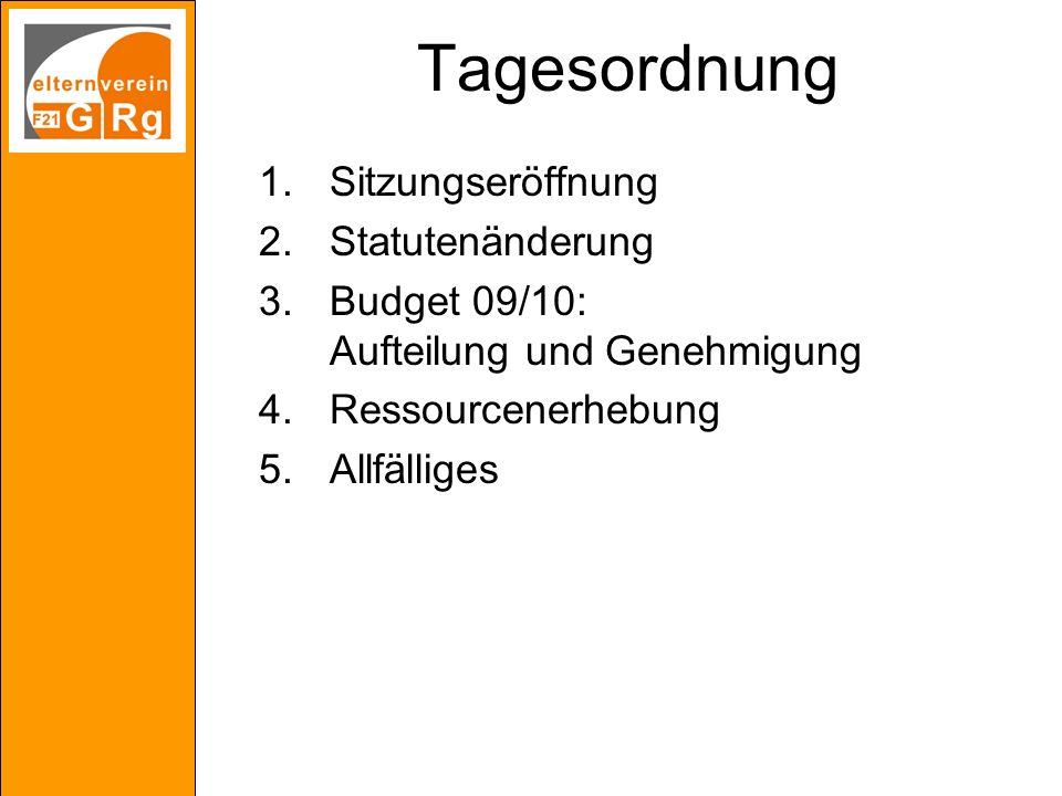 Tagesordnung 1.Sitzungseröffnung 2.Statutenänderung 3.Budget 09/10: Aufteilung und Genehmigung 4.Ressourcenerhebung 5.Allfälliges