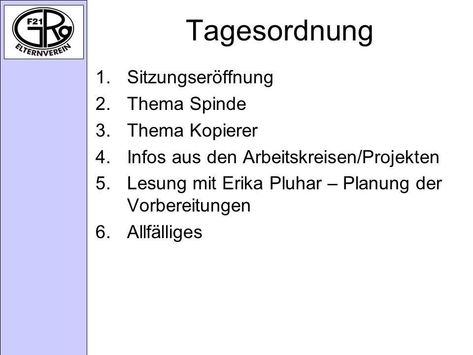 Tagesordnung 1.Sitzungseröffnung 2.Thema Spinde 3.Thema Kopierer 4.Infos aus den Arbeitskreisen/Projekten 5.Lesung mit Erika Pluhar – Planung der Vorbereitungen 6.Allfälliges