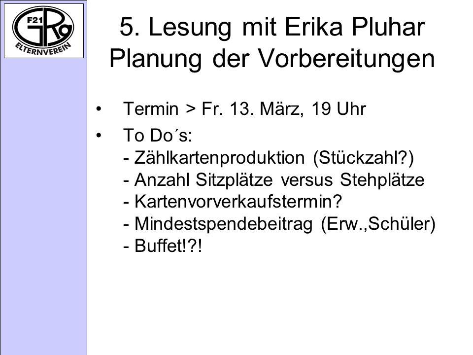 5.Lesung mit Erika Pluhar Planung der Vorbereitungen Termin > Fr.