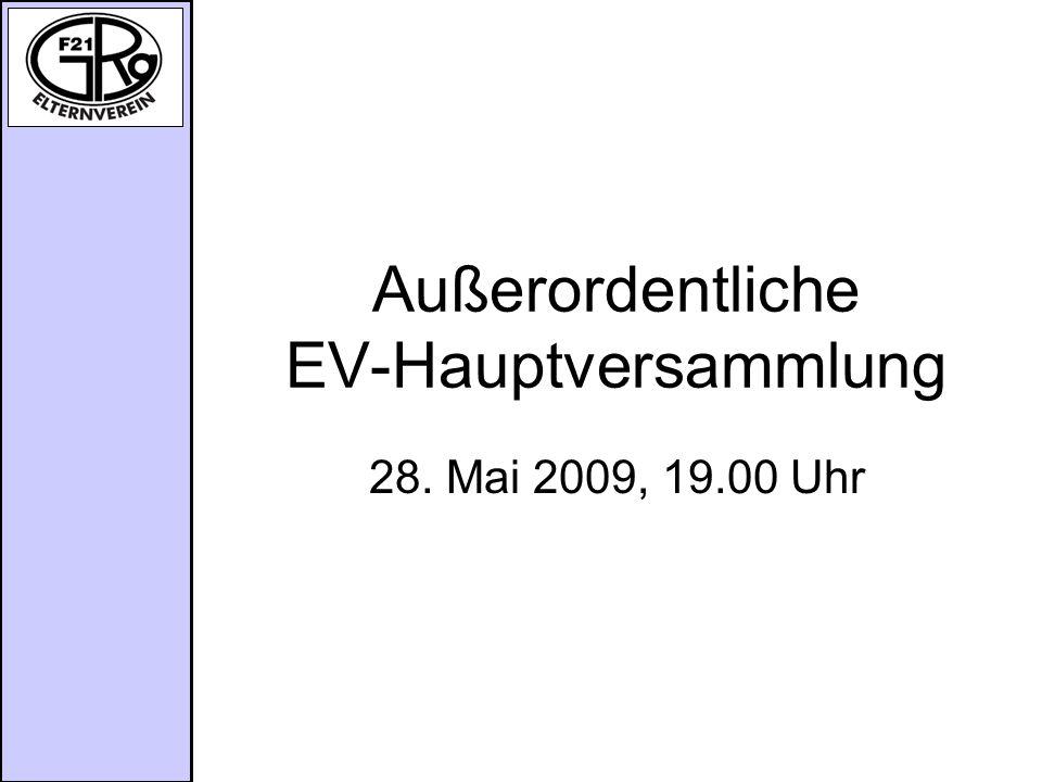 Außerordentliche EV-Hauptversammlung 28. Mai 2009, 19.00 Uhr