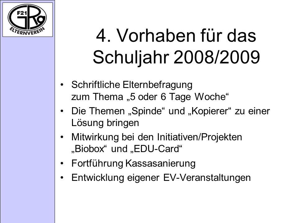 4. Vorhaben für das Schuljahr 2008/2009 Schriftliche Elternbefragung zum Thema 5 oder 6 Tage Woche Die Themen Spinde und Kopierer zu einer Lösung brin