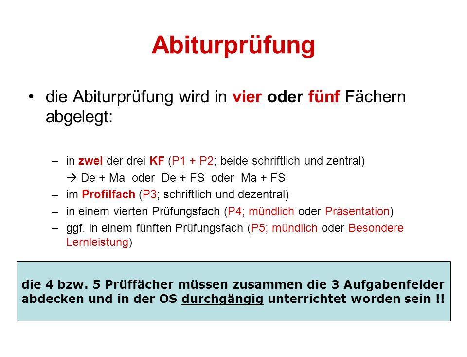 Abiturprüfung die Abiturprüfung wird in vier oder fünf Fächern abgelegt: –in zwei der drei KF (P1 + P2; beide schriftlich und zentral) De + Ma oder De