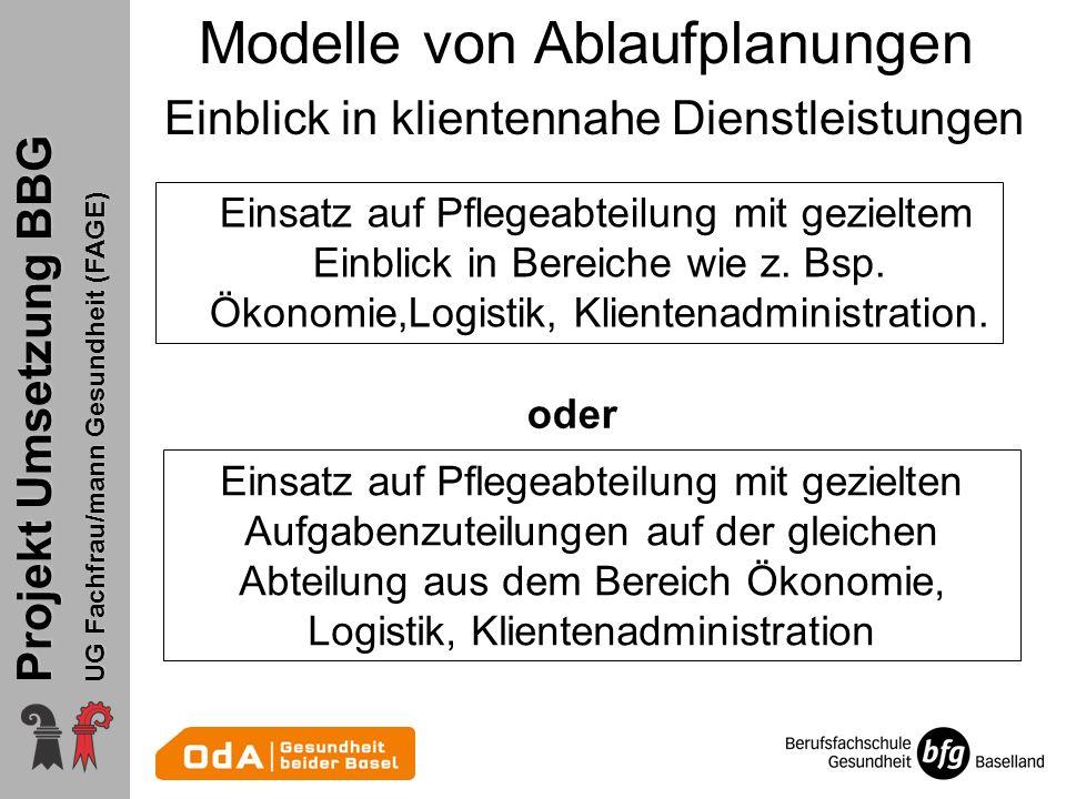 Projekt Umsetzung BBG UG Fachfrau/mann Gesundheit (FAGE) Modelle von Ablaufplanungen Einblick in klientennahe Dienstleistungen Einsatz auf Pflegeabtei