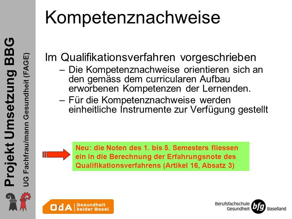 Projekt Umsetzung BBG UG Fachfrau/mann Gesundheit (FAGE) Sache der kant.
