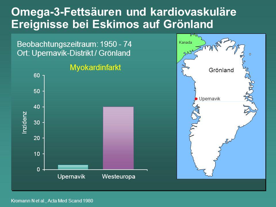Omega-3-Fettsäuren in der Nahrung von Eskimos auf Grönland Bang H O et al., Am J Clin Nutr 1980; Kromann N et al., Acta Med Scand 1980 EskimosDänen Linolsäure, C18:2 4,7 %10,0 % -Linolensäure, C18:3 0,4 % 2,0 % Arachidonsäure, C20:4 0,1 % 0 % Eicosapentaensäure, C20:5 2,3 % 0,4 % Docosahexaensäure, C22:6 2,2 % 0,3 % Nahrungsanteil gesättigte 22,8 %52,7 % Fettsäuren Nahrungsanteil ungesättigte 76,5 %47,3 % Fettsäuren Verhältnis ungesättigt/ 0,84 0,24 gesättigte Fettsäuren
