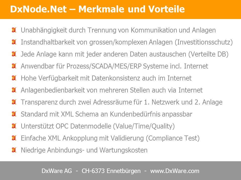 DxWare AG - CH-6373 Ennetbürgen - www.DxWare.com Unabhängigkeit durch Trennung von Kommunikation und Anlagen Instandhaltbarkeit von grossen/komplexen Anlagen (Investitionsschutz) Jede Anlage kann mit jeder anderen Daten austauschen (Verteilte DB) Anwendbar für Prozess/SCADA/MES/ERP Systeme incl.