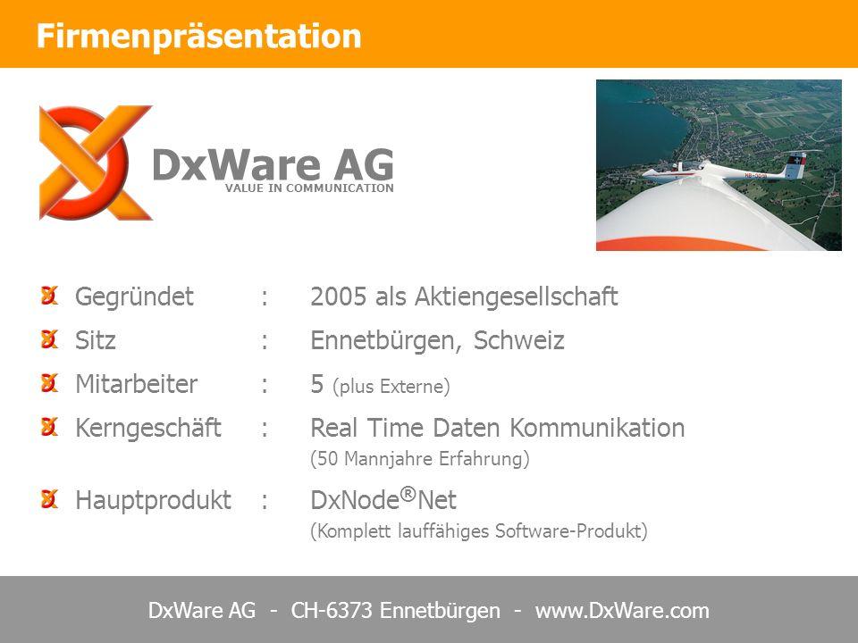 DxWare AG - CH-6373 Ennetbürgen - www.DxWare.com Gegründet:2005 als Aktiengesellschaft Sitz:Ennetbürgen, Schweiz Mitarbeiter:5 (plus Externe) Kerngeschäft:Real Time Daten Kommunikation (50 Mannjahre Erfahrung) Hauptprodukt:DxNode ® Net (Komplett lauffähiges Software-Produkt) Firmenpräsentation DxWare AG VALUE IN COMMUNICATION