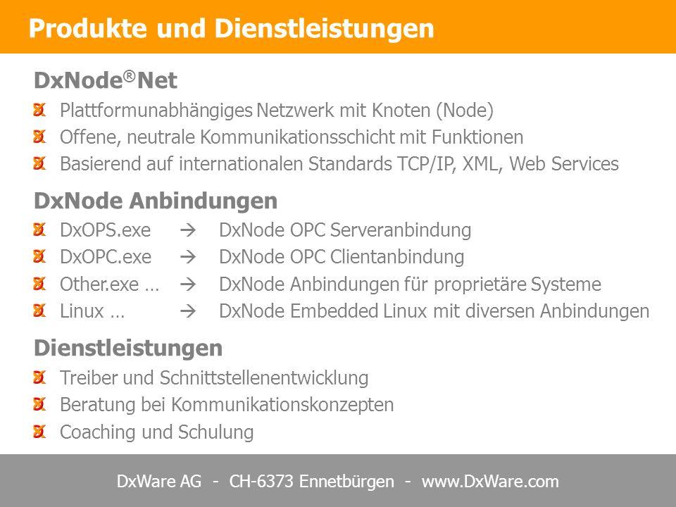 DxWare AG - CH-6373 Ennetbürgen - www.DxWare.com DxNode ® Net Plattformunabhängiges Netzwerk mit Knoten (Node) Offene, neutrale Kommunikationsschicht mit Funktionen Basierend auf internationalen Standards TCP/IP, XML, Web Services DxNode Anbindungen DxOPS.exe DxNode OPC Serveranbindung DxOPC.exe DxNode OPC Clientanbindung Other.exe … DxNode Anbindungen für proprietäre Systeme Linux … DxNode Embedded Linux mit diversen Anbindungen Dienstleistungen Treiber und Schnittstellenentwicklung Beratung bei Kommunikationskonzepten Coaching und Schulung Produkte und Dienstleistungen