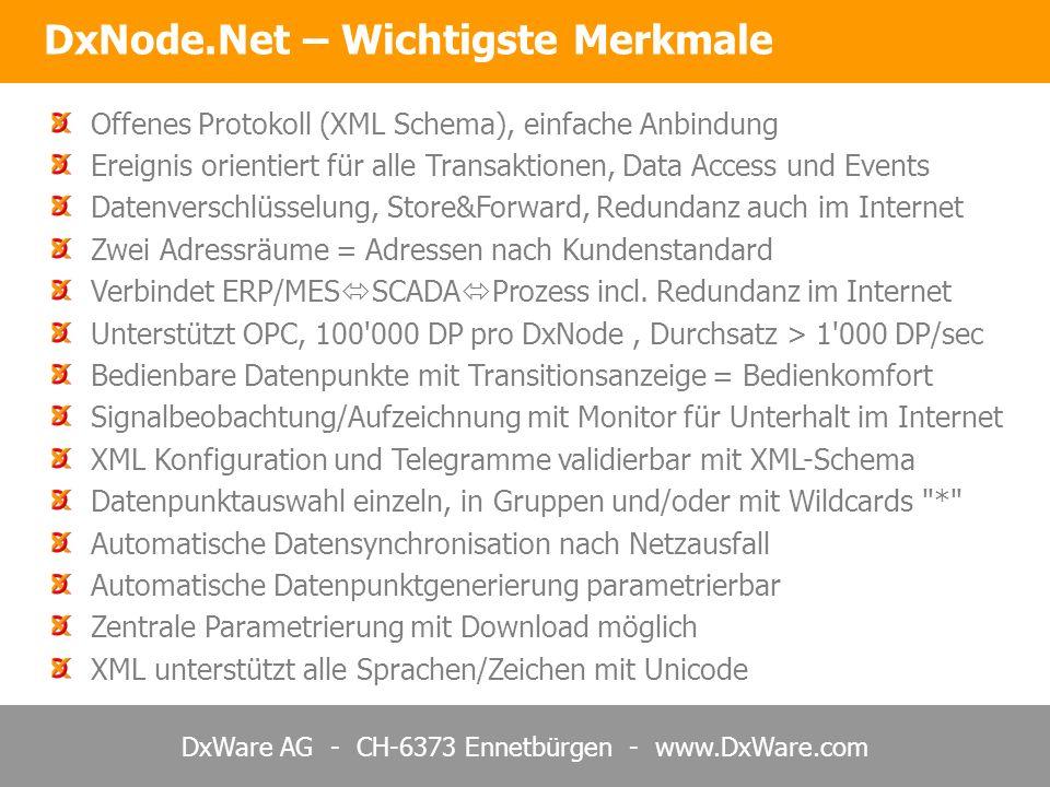 DxWare AG - CH-6373 Ennetbürgen - www.DxWare.com DxNode.Net – Wichtigste Merkmale Offenes Protokoll (XML Schema), einfache Anbindung Ereignis orientiert für alle Transaktionen, Data Access und Events Datenverschlüsselung, Store&Forward, Redundanz auch im Internet Zwei Adressräume = Adressen nach Kundenstandard Verbindet ERP/MES SCADA Prozess incl.