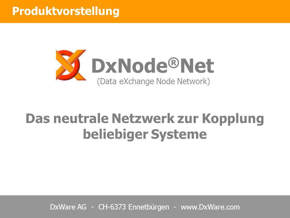 DxWare AG - CH-6373 Ennetbürgen - www.DxWare.com Produktvorstellung DxNode ® Net (Data eXchange Node Network) Das neutrale Netzwerk zur Kopplung beliebiger Systeme