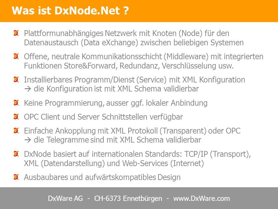 DxWare AG - CH-6373 Ennetbürgen - www.DxWare.com Plattformunabhängiges Netzwerk mit Knoten (Node) für den Datenaustausch (Data eXchange) zwischen beliebigen Systemen Offene, neutrale Kommunikationsschicht (Middleware) mit integrierten Funktionen Store&Forward, Redundanz, Verschlüsselung usw.
