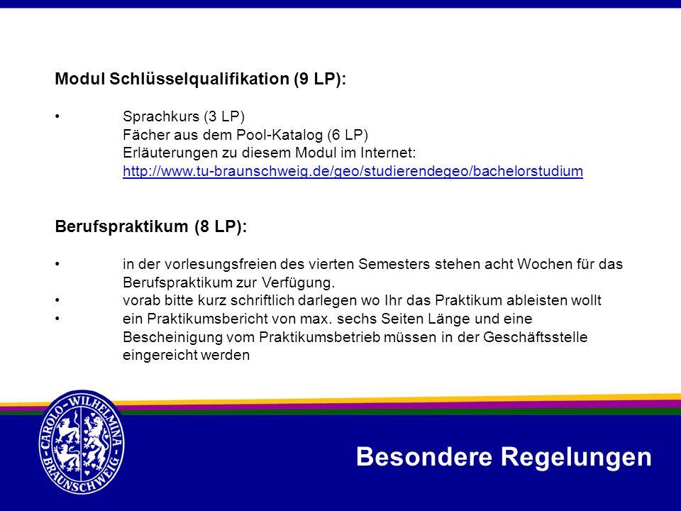 Modul Schlüsselqualifikation (9 LP): Sprachkurs (3 LP) Fächer aus dem Pool-Katalog (6 LP) Erläuterungen zu diesem Modul im Internet: http://www.tu-bra