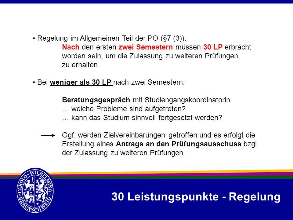 30 Leistungspunkte - Regelung Regelung im Allgemeinen Teil der PO (§7 (3)): Nach den ersten zwei Semestern müssen 30 LP erbracht worden sein, um die Z