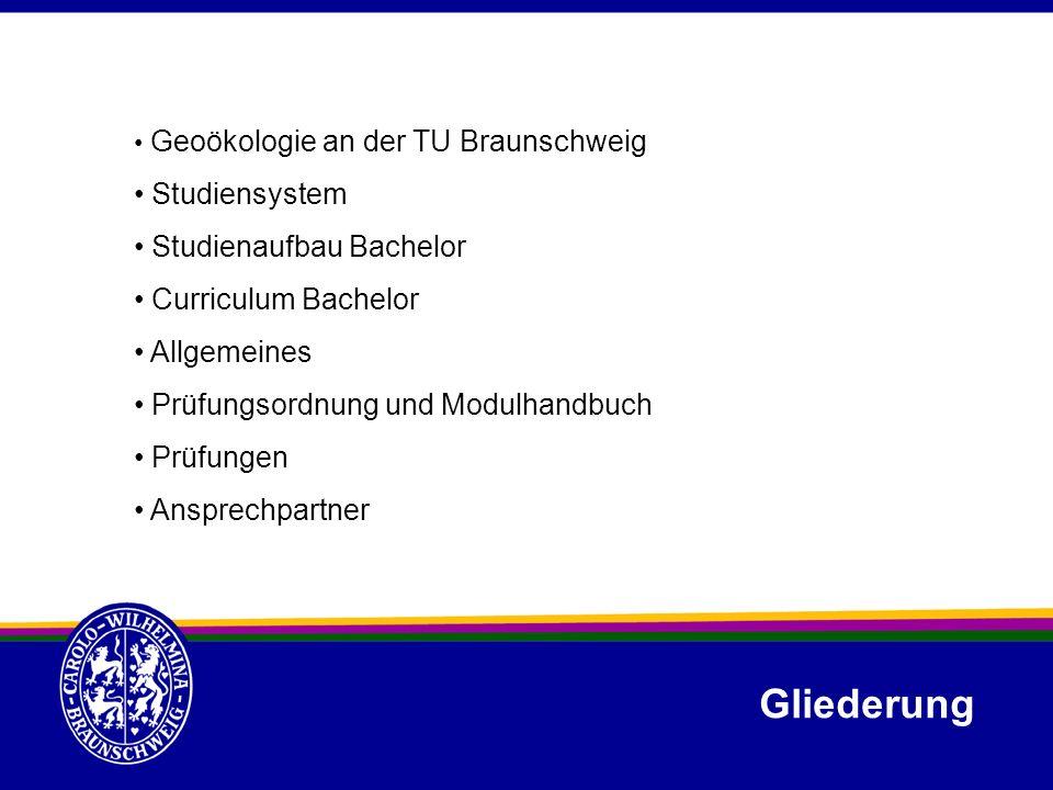 Gliederung Geoökologie an der TU Braunschweig Studiensystem Studienaufbau Bachelor Curriculum Bachelor Allgemeines Prüfungsordnung und Modulhandbuch P