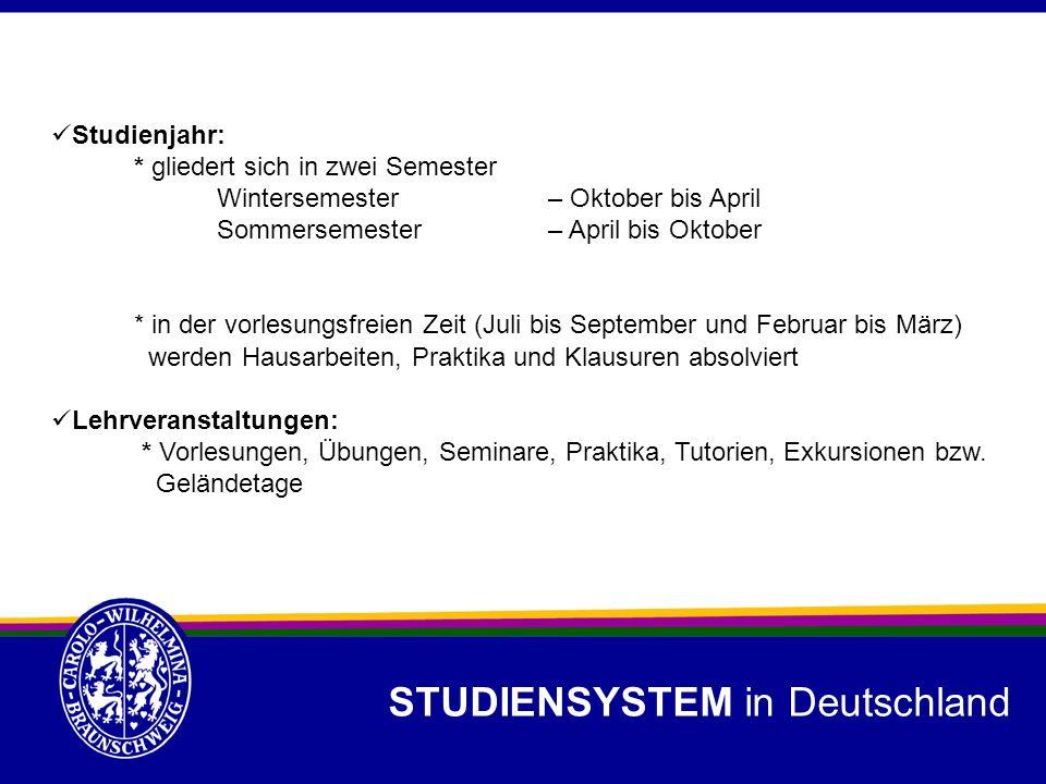 STUDIENSYSTEM in Deutschland Studienjahr: * gliedert sich in zwei Semester Wintersemester– Oktober bis April Sommersemester– April bis Oktober * in de