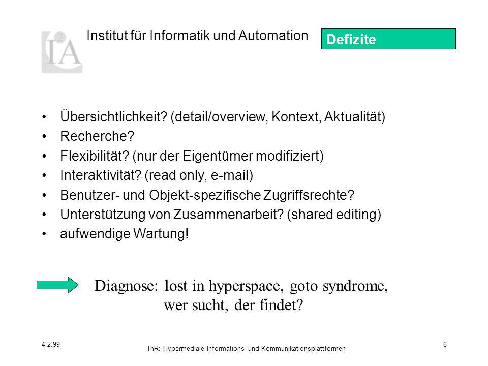 Institut für Informatik und Automation 4.2.99 ThR: Hypermediale Informations- und Kommunikationsplattformen 6 Übersichtlichkeit? (detail/overview, Kon