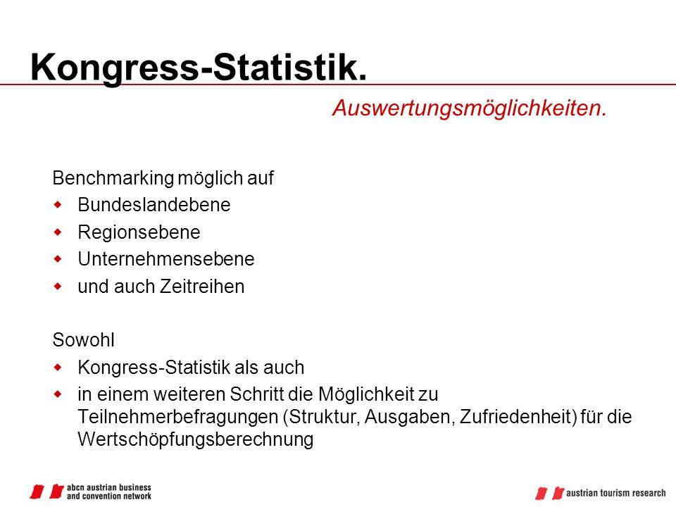 Kongress-Statistik. Auswertungsmöglichkeiten. Benchmarking möglich auf Bundeslandebene Regionsebene Unternehmensebene und auch Zeitreihen Sowohl Kongr