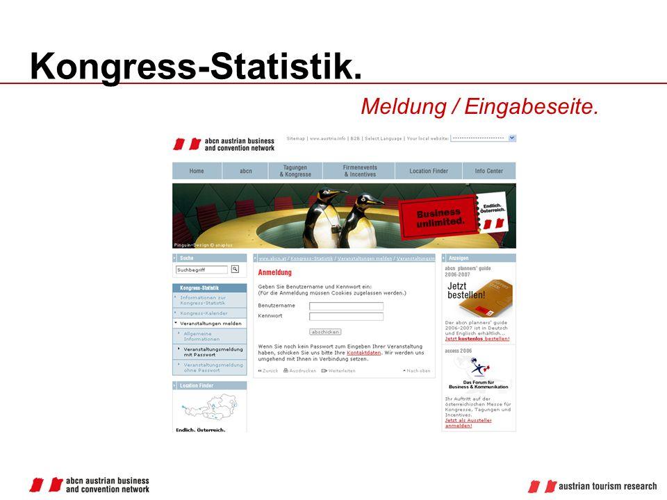 Kongress-Statistik. Meldung / Eingabeseite.