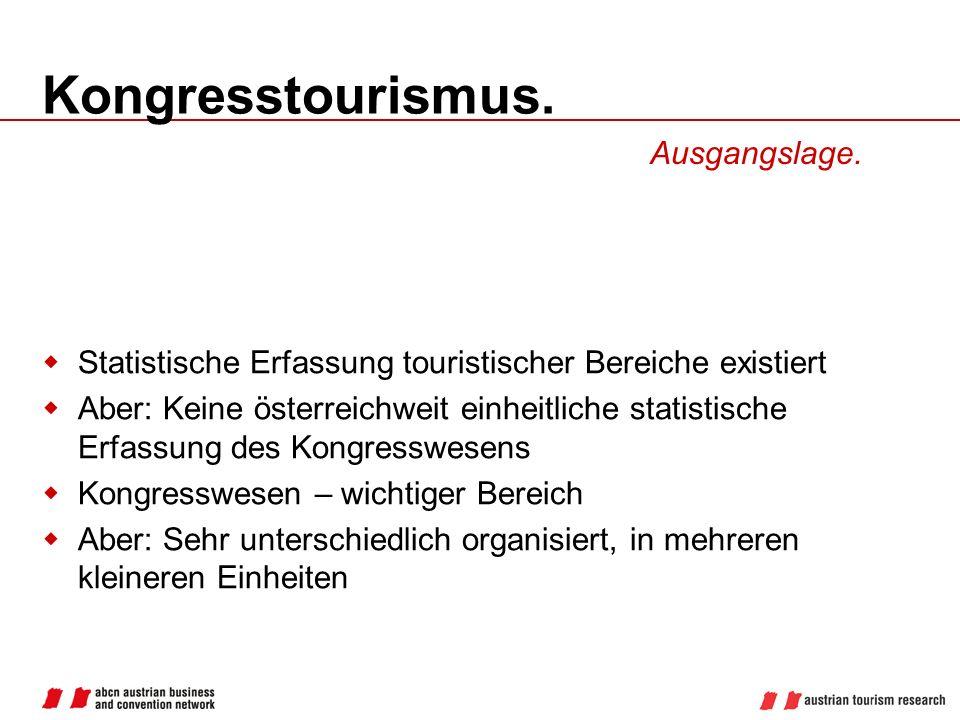 Kongresstourismus. Statistische Erfassung touristischer Bereiche existiert Aber: Keine österreichweit einheitliche statistische Erfassung des Kongress