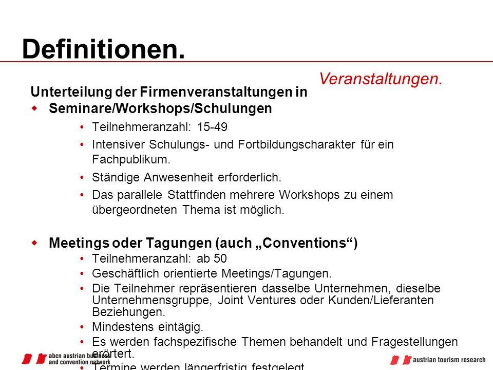Definitionen. Veranstaltungen. Unterteilung der Firmenveranstaltungen in Seminare/Workshops/Schulungen Teilnehmeranzahl: 15-49 Intensiver Schulungs- u