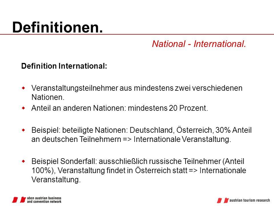 Definitionen. National - International. Definition International: Veranstaltungsteilnehmer aus mindestens zwei verschiedenen Nationen. Anteil an ander