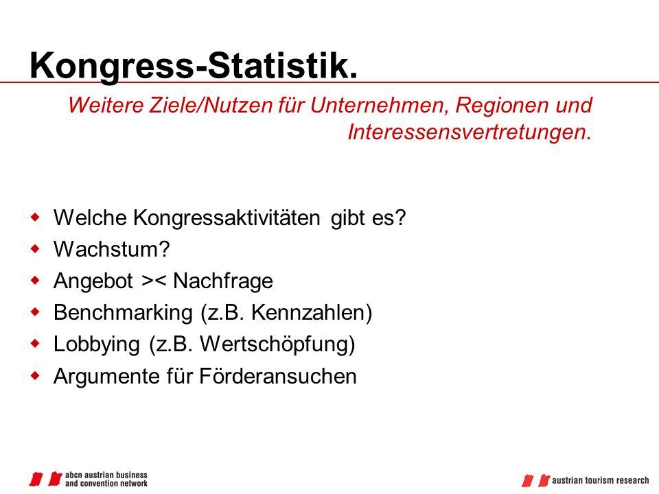 Kongress-Statistik. Welche Kongressaktivitäten gibt es? Wachstum? Angebot >< Nachfrage Benchmarking (z.B. Kennzahlen) Lobbying (z.B. Wertschöpfung) Ar