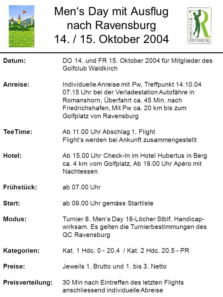 Mens Day mit Ausflug nach Ravensburg 14. / 15. Oktober 2004 Datum: DO 14. und FR 15. Oktober 2004 für Mitglieder des Golfclub Waldkirch Anreise: Indiv