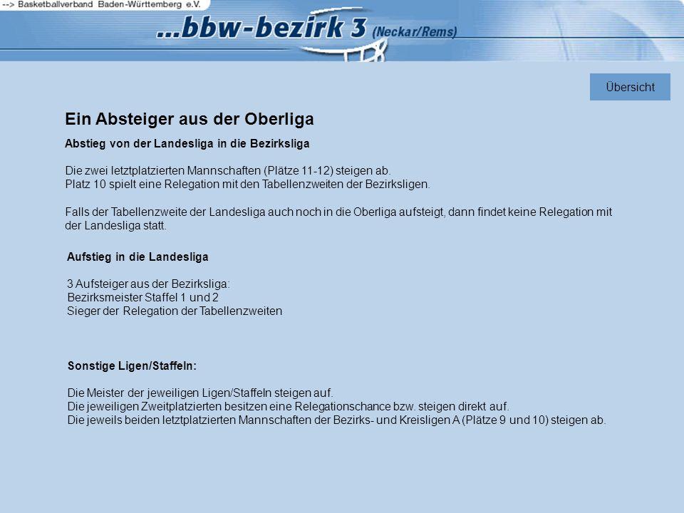 Ein Absteiger aus der Oberliga Abstieg von der Landesliga in die Bezirksliga Die zwei letztplatzierten Mannschaften (Plätze 11-12) steigen ab. Platz 1