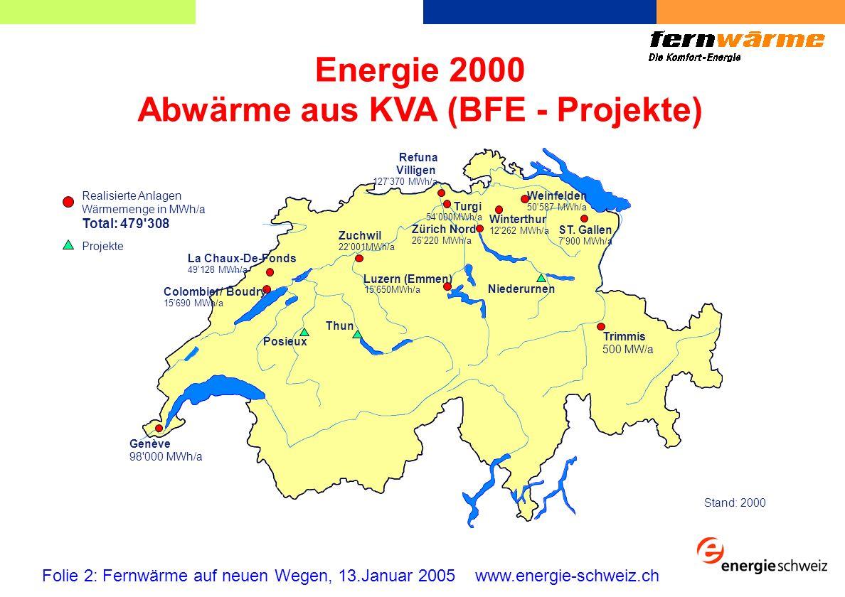 Energie 2000 Abwärmenutzung aus ARA (BFE - Projekte) Folie 3: Fernwärme auf neuen Wegen, 13.Januar 2005 www.energie-schweiz.ch