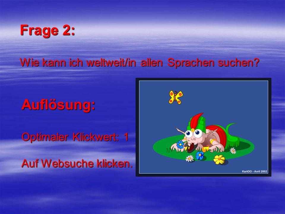 Frage 2: Wie kann ich weltweit/in allen Sprachen suchen? Auflösung: Optimaler Klickwert: 1 Auf Websuche klicken.