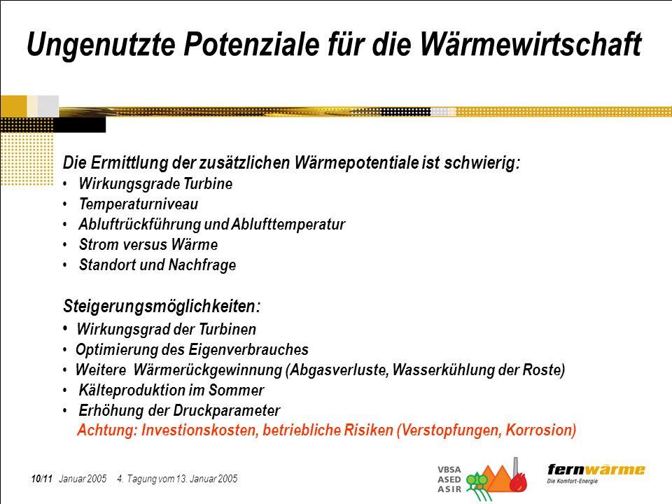 10/11 Januar 2005 4. Tagung vom 13. Januar 2005 Ungenutzte Potenziale für die Wärmewirtschaft Die Ermittlung der zusätzlichen Wärmepotentiale ist schw