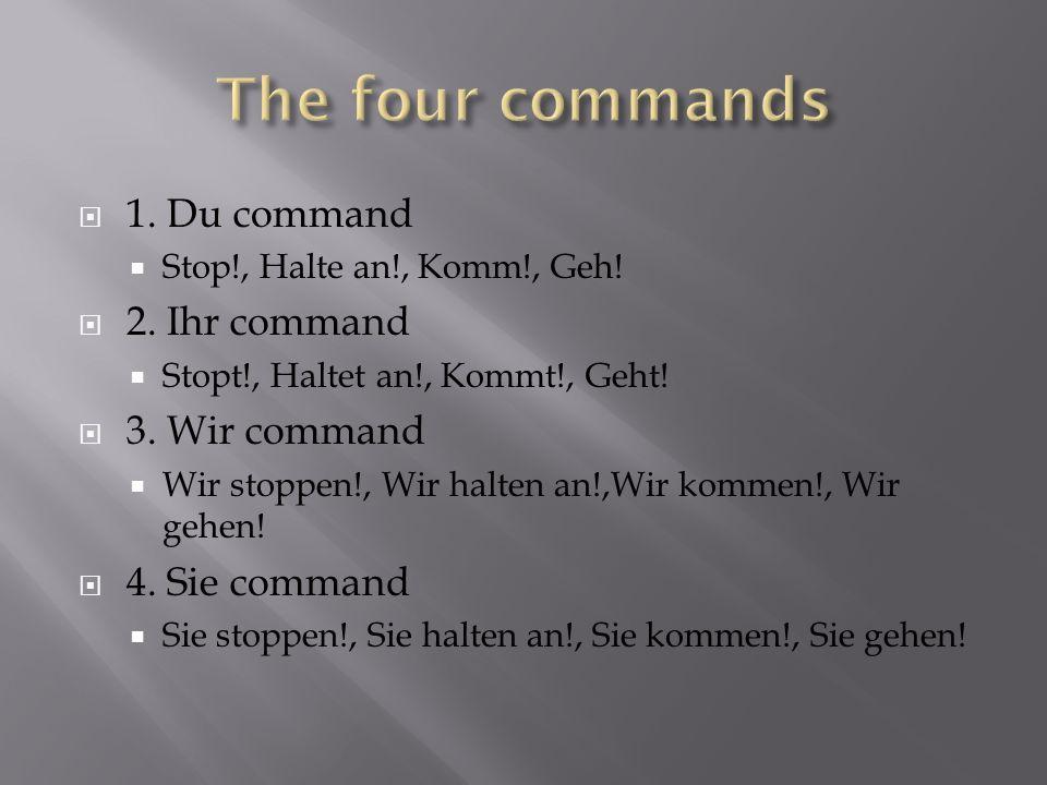 1. Du command Stop!, Halte an!, Komm!, Geh! 2. Ihr command Stopt!, Haltet an!, Kommt!, Geht! 3. Wir command Wir stoppen!, Wir halten an!,Wir kommen!,