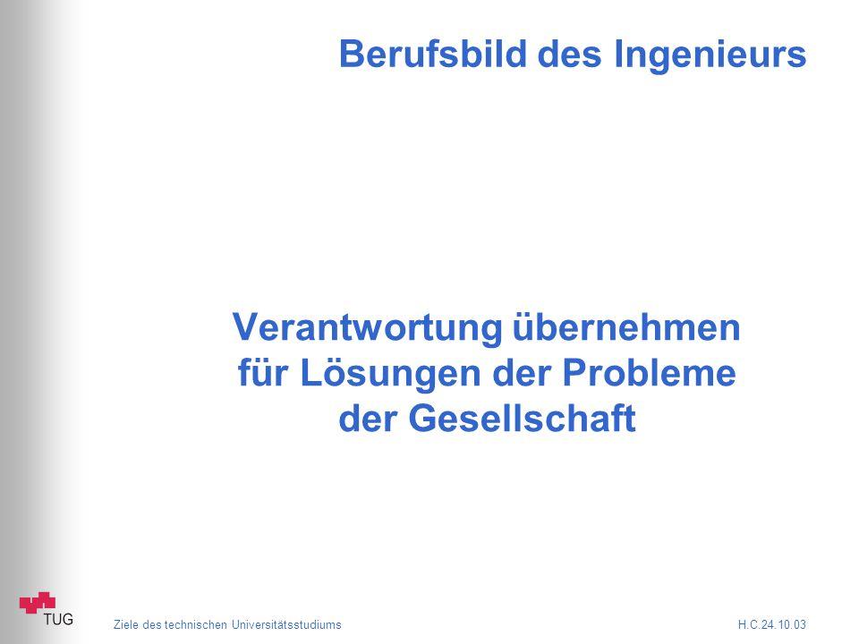 Ziele des technischen Universitätsstudiums H.C.24.10.03 Beispiel: Nanotechnologie Quelle: Computer Zeitung Nr.