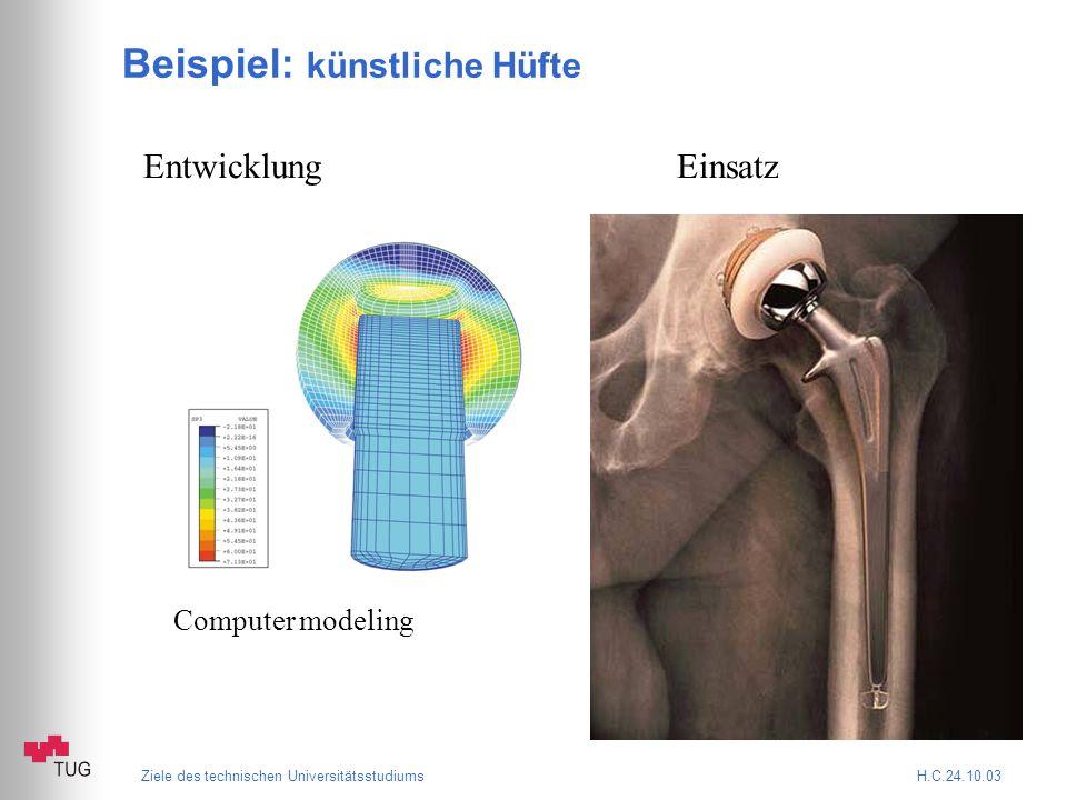 Ziele des technischen Universitätsstudiums H.C.24.10.03 Beispiel: künstliche Hüfte EntwicklungEinsatz Computer modeling