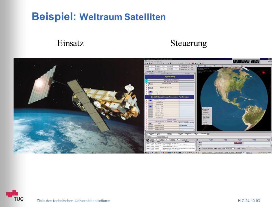 Ziele des technischen Universitätsstudiums H.C.24.10.03 Beispiel: Weltraum Satelliten Einsatz Steuerung
