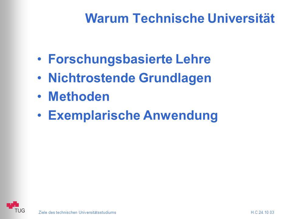 Ziele des technischen Universitätsstudiums H.C.24.10.03 Warum Technische Universität Forschungsbasierte Lehre Nichtrostende Grundlagen Methoden Exemplarische Anwendung