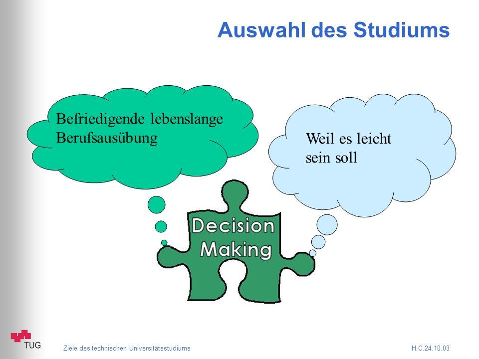 Ziele des technischen Universitätsstudiums H.C.24.10.03 Auswahl des Studiums Weil es leicht sein soll Befriedigende lebenslange Berufsausübung
