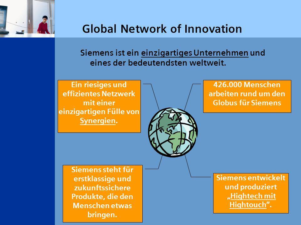 Global Network of Innovation Siemens ist ein einzigartiges Unternehmen und eines der bedeutendsten weltweit.