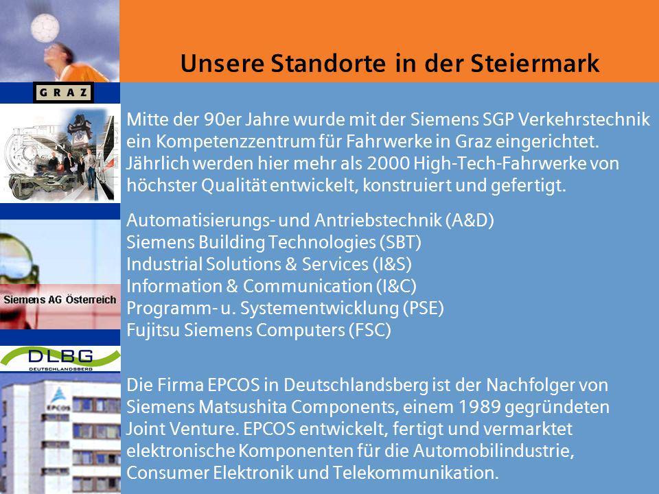 Unsere Standorte in der Steiermark Die Firma EPCOS in Deutschlandsberg ist der Nachfolger von Siemens Matsushita Components, einem 1989 gegründeten Joint Venture.