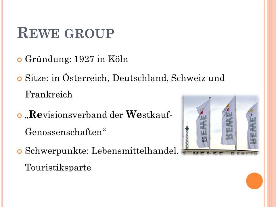 R EWE GROUP Gründung: 1927 in Köln Sitze: in Österreich, Deutschland, Schweiz und Frankreich Re visionsverband der We stkauf- Genossenschaften Schwerpunkte: Lebensmittelhandel, Touristiksparte