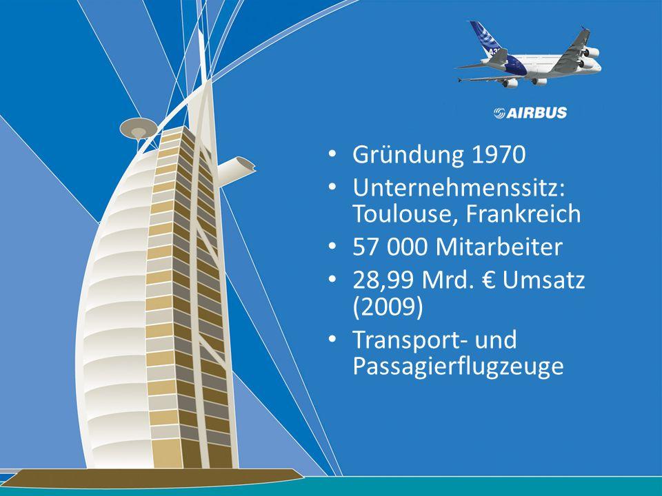 Gründung 1970 Unternehmenssitz: Toulouse, Frankreich 57 000 Mitarbeiter 28,99 Mrd. Umsatz (2009) Transport- und Passagierflugzeuge